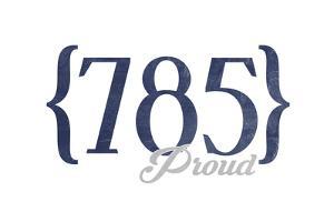 Topeka, Kansas - 785 Area Code (Blue) by Lantern Press