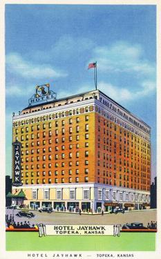 Topeka, Kansas - Exterior View of Hotel Jayhawk by Lantern Press