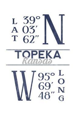 Topeka, Kansas - Latitude and Longitude (Blue) by Lantern Press