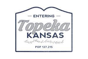 Topeka, Kansas - Now Entering (Blue) by Lantern Press
