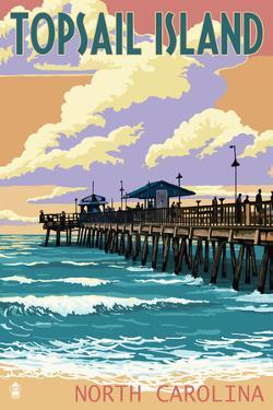 Topsail Island, North Carolina - Pier and Sunset by Lantern Press