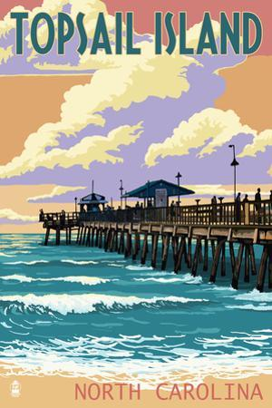 Topsail Island, North Carolina - Pier and Sunset