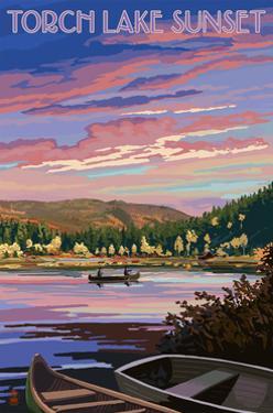 Torch Lake, Michigan - Lake Scene at Dusk by Lantern Press