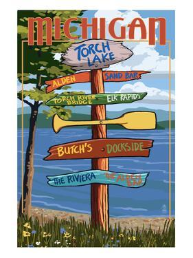 Torch Lake, Michigan - Sign Destinations by Lantern Press