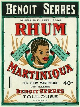 Toulouse, France, Rhum Martiniqua Benoit Serres Brand Rum Label by Lantern Press