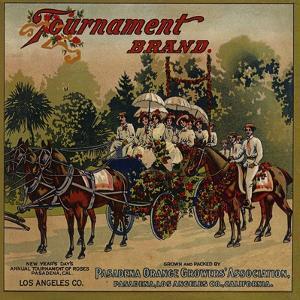Tournament Brand - Pasadena, California - Citrus Crate Label by Lantern Press