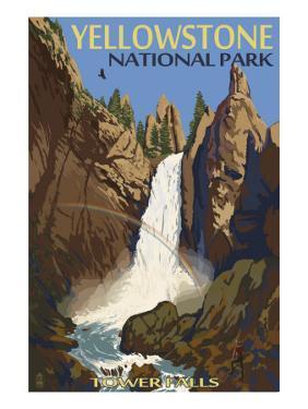 Tower Falls - Yellowstone National Park by Lantern Press