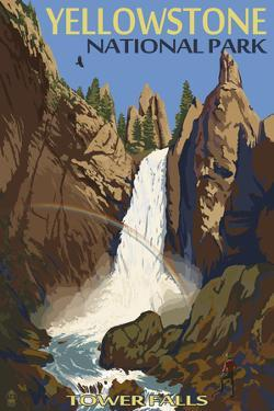 Tower Falls - Yellowstone National Park by Lantern Press