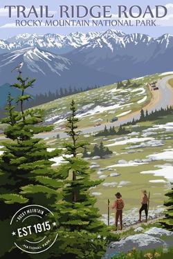 Trail Ridge Road - Rocky Mountain National Park - Rubber Stamp by Lantern Press