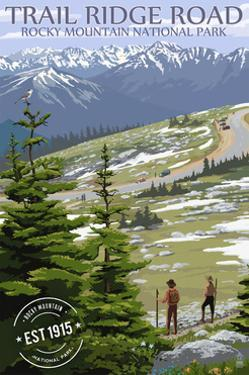 Trail Ridge Road - Rocky Mountain National Park - Rubber Stamp by Lantern Press