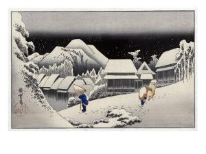 Travellers in the Snow at the Kanbara Station, Japanese Wood-Cut Print by Lantern Press