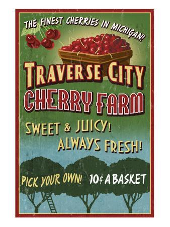 Traverse City, Michigan - Cherry Farm by Lantern Press