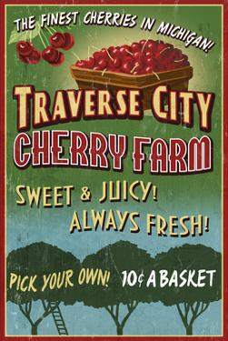 Traverse City, Michigan - Cherry Farm by Lantern Press