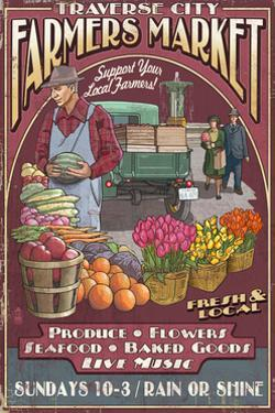 Traverse City, Michigan - Farmers Market Vintage Sign by Lantern Press