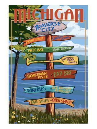 Traverse City, Michigan - Sign Destinations by Lantern Press