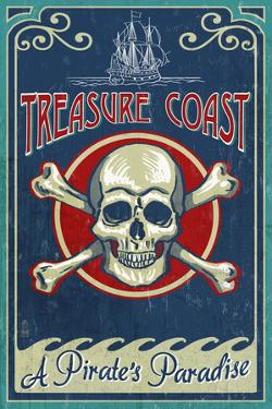 Treasure Cove, Florida - Skull and Crossbones by Lantern Press