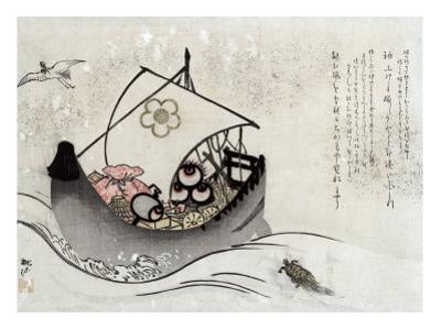Treasure Ship with Crane and Tortoise, Japanese Wood-Cut Print by Lantern Press