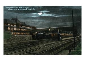 Trenton, New Jersey - Penn Railroad Station, Western Flier at Night by Lantern Press