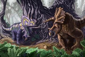 Tricerotops Charging Dinosaur by Lantern Press