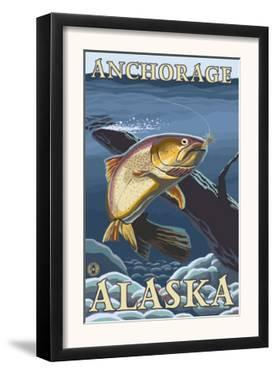 Trout Fishing Cross-Section, Anchorage, Alaska by Lantern Press