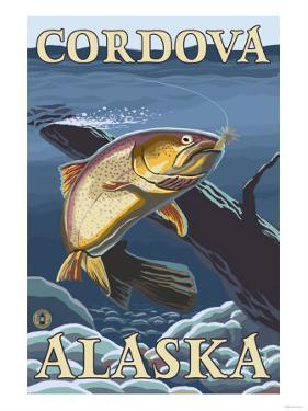 Trout Fishing Cross-Section, Cordova, Alaska by Lantern Press