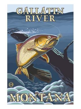 Trout Fishing Cross-Section, Gallatin River, Montana by Lantern Press