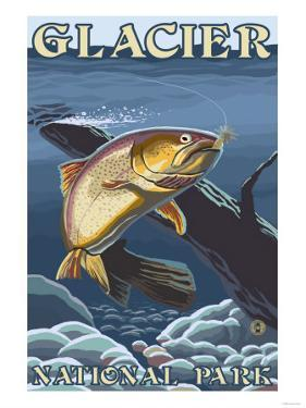 Trout Fishing Cross-Section, Glacier National Park, Montana by Lantern Press
