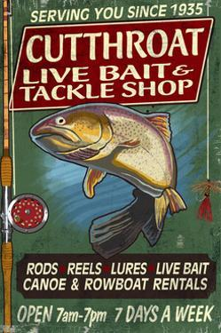 Trout Tackle - Vintage Sign by Lantern Press