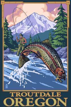 Troutdale, Oregon - Fisherman by Lantern Press