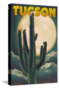 Tucson, Arizona Cactus and Full Moon by Lantern Press