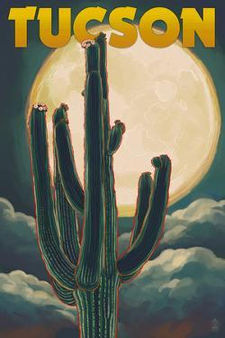 Tucson, Arizona Cactus and Full Moon by Lantern Press