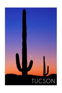 Tucson, Arizona - Cactus and Moon by Lantern Press