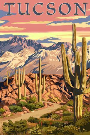 Tucson, Arizona Sunset Desert Scene by Lantern Press