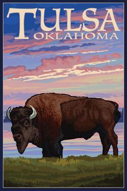 Tulsa, Oklahoma - Buffalo and Sunset by Lantern Press