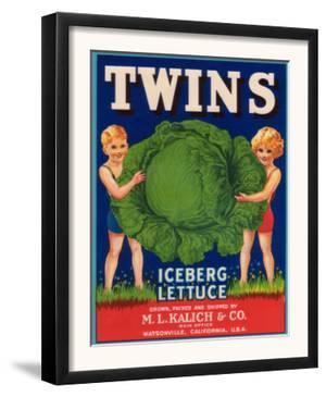 Twins Lettuce Label - Watsonville, CA by Lantern Press