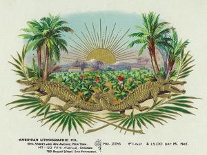 Two Alligators in a Tobacco Field Brand Cigar Box Label by Lantern Press