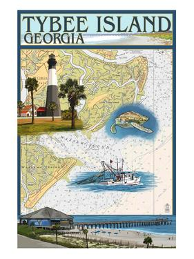 Tybee Island, Georgia - Nautical Chart by Lantern Press