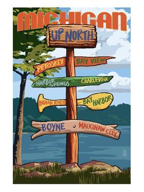 Up North, Michigan - Sign Destinations by Lantern Press