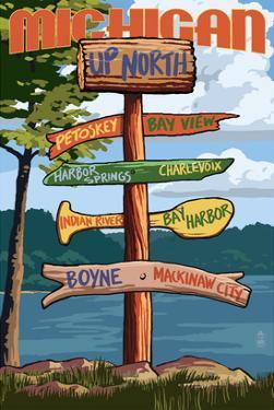 Up North, Michigan - Sign Destinations by Lantern Press