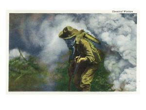 US Army - Soldier in Gas Mask, Chemical Warfare by Lantern Press