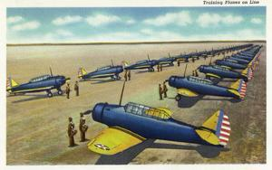 US Army - Training Planes on Line Scene by Lantern Press