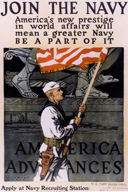 US Navy Vintage Poster - America's New Prestige by Lantern Press