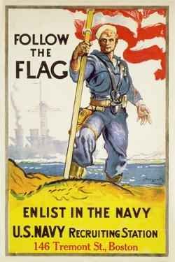 US Navy Vintage Poster - Follow the Flag by Lantern Press
