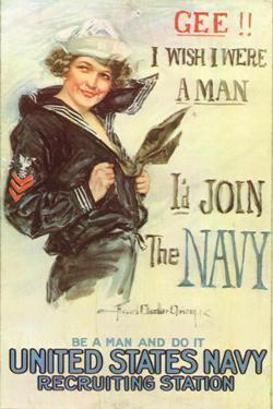 US Navy Vintage Poster - Gee I Wish I Were a Man by Lantern Press