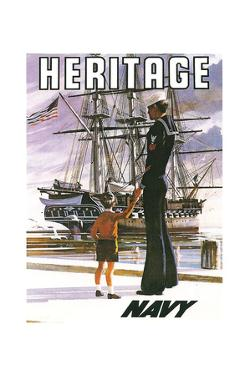 US Navy Vintage Poster - Heritage by Lantern Press