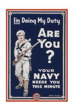 US Navy Vintage Poster - I'm Doing My Duty by Lantern Press
