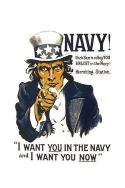 US Navy Vintage Poster - I Want YOU in the Navy by Lantern Press