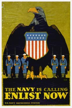 US Navy Vintage Poster - the Navy Is Calling by Lantern Press