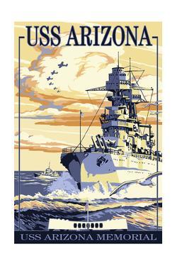 USS Arizona Battleship - Sunset Scene by Lantern Press