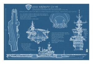 USS Midway Blue Print - San Diego, CA by Lantern Press